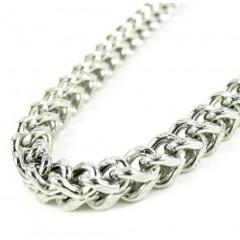 10k White Gold Diamond Cut Franco Link Chain 24-30 Inch 4.35mm
