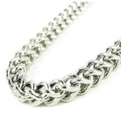 10k White Gold Diamond Cut Franco Link Chain 24-30 Inch 4.35mm