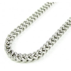 10k White Gold Smooth Cut Franco Link Chain 26-40 Inch 3.6mm