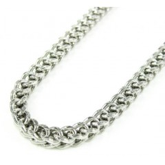 10k White Gold Diamond Cut Franco Link Chain 26-30 Inch 3.7mm