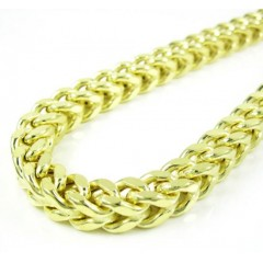 10k Yellow Gold Smooth Cut Franco Link Chain 26-36 Inch 6.7mm