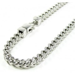 10k White Gold Smooth Cut Franco Bracelet 8.50 Inch 4.2mm