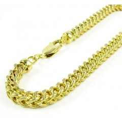10k Yellow Gold Diamond Cut Franco Bracelet 9.75 Inch 5.2mm