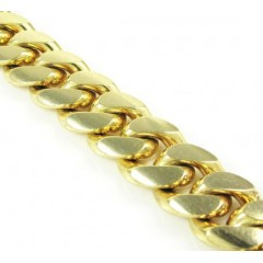 10k Yellow Gold Smooth Cut Miami Link Bracelet 9 Inch 10.4mm