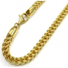 10k Yellow Gold Smooth Cut Franco Bracelet 10 Inch 4.4mm