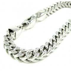 10k White Gold Diamond Cut Franco Bracelet 9 Inch 6.9mm