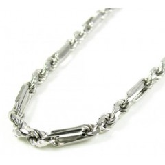 14k White Gold Smooth Cut Figarope Link Chain 20-24 Inch 3.6mm