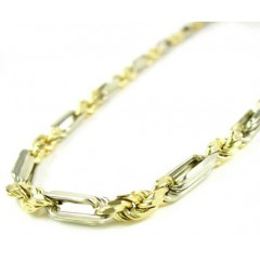 14k Two Tone Gold Smooth Cut Figarope Link Chain 22-26 Inch 4mm
