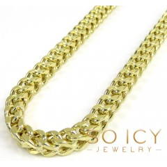14k Yellow Gold Smooth Cut Franco Link Chain 20-36 Inch 4.25mm