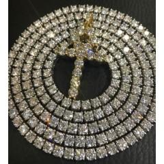 34.60ct 14k White Gold Round 20 Pointer Diamond Tennis Link Chain 30