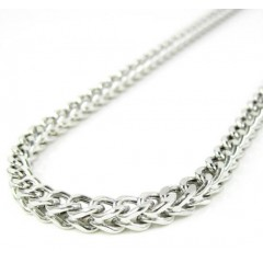 14k White Gold Smooth Cut Franco Link Chain 22-36 Inch 3.75mm