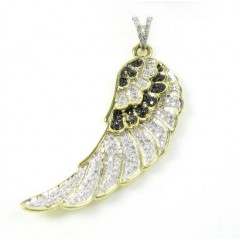 10k Yellow Gold Black & White Diamond Angel Wing Pendant 0.45ct