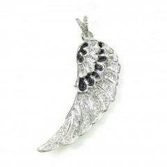 10k White Gold Black & White Diamond Angel Wing Pendant 0.45ct