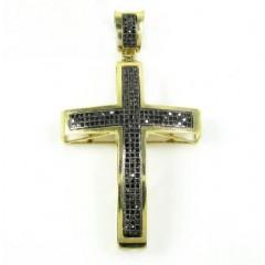 14k Yellow Gold Black Diamond Cross 0.62ct