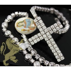 27.00ct 14k White Gold diamond Prong Rosary & Cross
