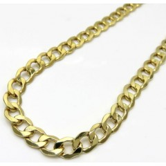 10k Solid Yellow Gold Cuban Link Chain 20-30 Inch 7mm