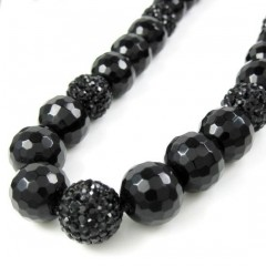 Black Rhinestone Macramé Black Onyx Faceted Bead Chain 17.00ct