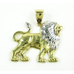 10k Solid Two Tone Diamond Cut Lion Pendant