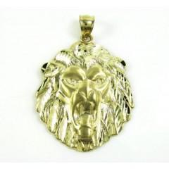 10k Yellow Gold Diamond Cut Lion Pendant