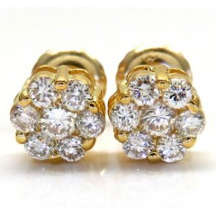 14k Yellow Gold Diamond Cluster Earrings 0.50ct