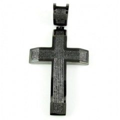 .925 Black Silver Black Diamond Cross 1.50ct