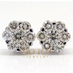 14k White Or Yellow Gold Diamond Cluster Earrings 2.00ct