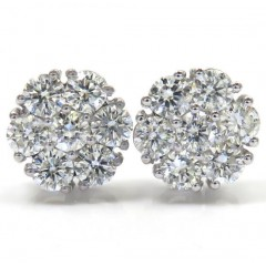 14k Gold 20 Pointer Diamond Large Cluster Earrings 10.30mm 2.90ct