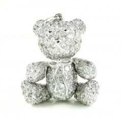 14k White Gold Teddy Bear Diamond Pendant 5.25ct