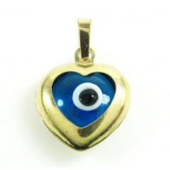 14k Yellow Gold Blue Evil...