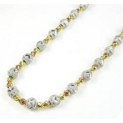 925 Tri Color Silver Diamond Cut Bead Chain 24 Inch 6mm