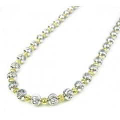 925 Two Tone Silver Diamond Cut Bead Chain 30 Inch 5mm