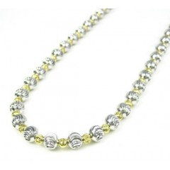 925 Two Tone Silver Diamond Cut Bead Chain 24-30 Inch 5mm