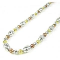 925 Tri Color Silver Diamond Cut Bead Chain 30 Inch 5mm