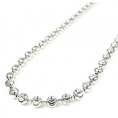 925 White Sterling Silver Diamond Cut Bead Chain 30 Inch 4mm