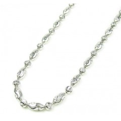 925 White Sterling Silver Diamond Cut Bead Chain 24 Inch 3mm