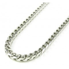 10k White Gold Franco Link Chain 30-40 Inch 3.65mm