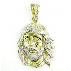 10k Two Tone Gold Diamond Cut Jesus Face Pendant 0.20ct