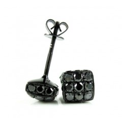 Mens 10k Black Gold Black Diamond 3d Ice Cube Earrings 1.35ct
