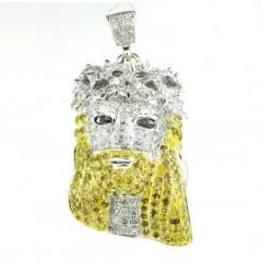 10k White Gold Mini Jesus Face Canary & White Diamond Pendant 1.66ct