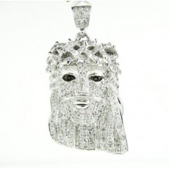 10k White Gold Mini Jesus Face White Diamond Pendant 1.66ct