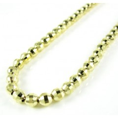 14k Yellow Gold Faceted Cut Bead Chain 18-22 Inch 4mm