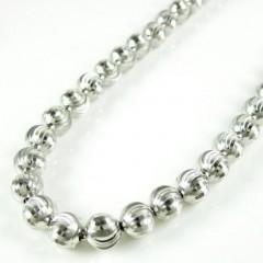 14k White Gold Moon Cut Bead Chain 20-22 Inch 6mm