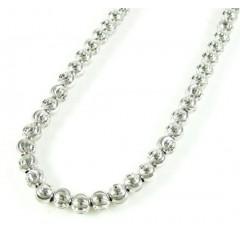14k White Gold Moon Cut Bead Chain 18-22 Inch 4mm