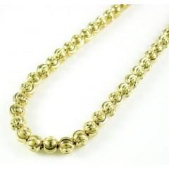 14k Yellow Gold Moon Cut Bead Chain 18-22 Inch 4mm