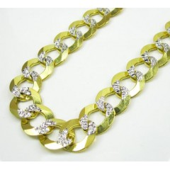 10k Yellow Gold Diamond Cut Cuban Chain 26-36 Inch 12.5mm