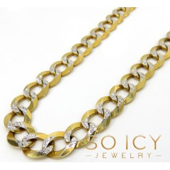 10k Yellow Gold Diamond Cut Cuban Chain 26-40 Inch 10mm