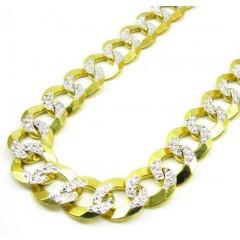10k Yellow Gold Diamond Cut Cuban Chain 26-30 Inch 11.5mm