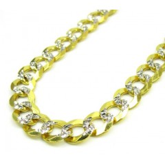 10k Yellow Gold Diamond Cut Cuban Chain 20-34 Inch 7mm