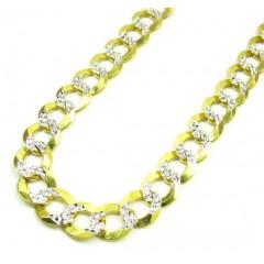 10k Yellow Gold Diamond Cut Cuban Chain 26-36 Inch 8.5mm