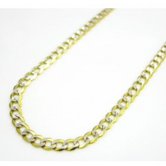 10k Yellow Gold Diamond Cut Cuban Skinny Chain 16-36 Inch 2.6mm
